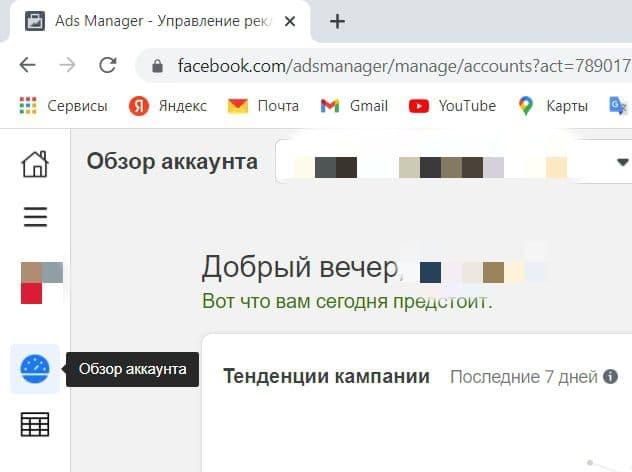 Кнопка «Обзор аккаунта» на панели Ads Manager