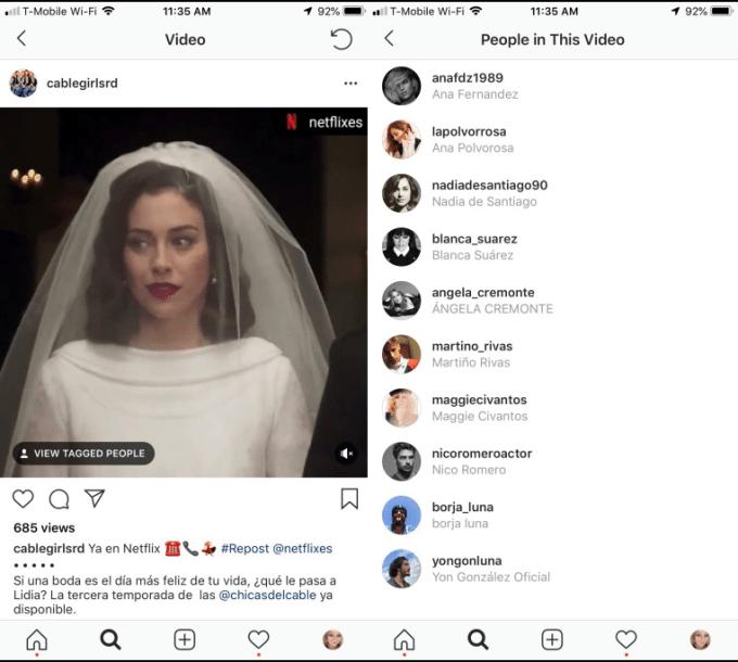 Отметки на видео в Instagram